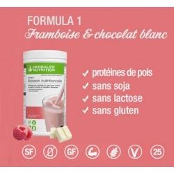 Profitez d'une nutrition équilibrée avec le repas prise de poids Herbalife framboise & chocolat blanc