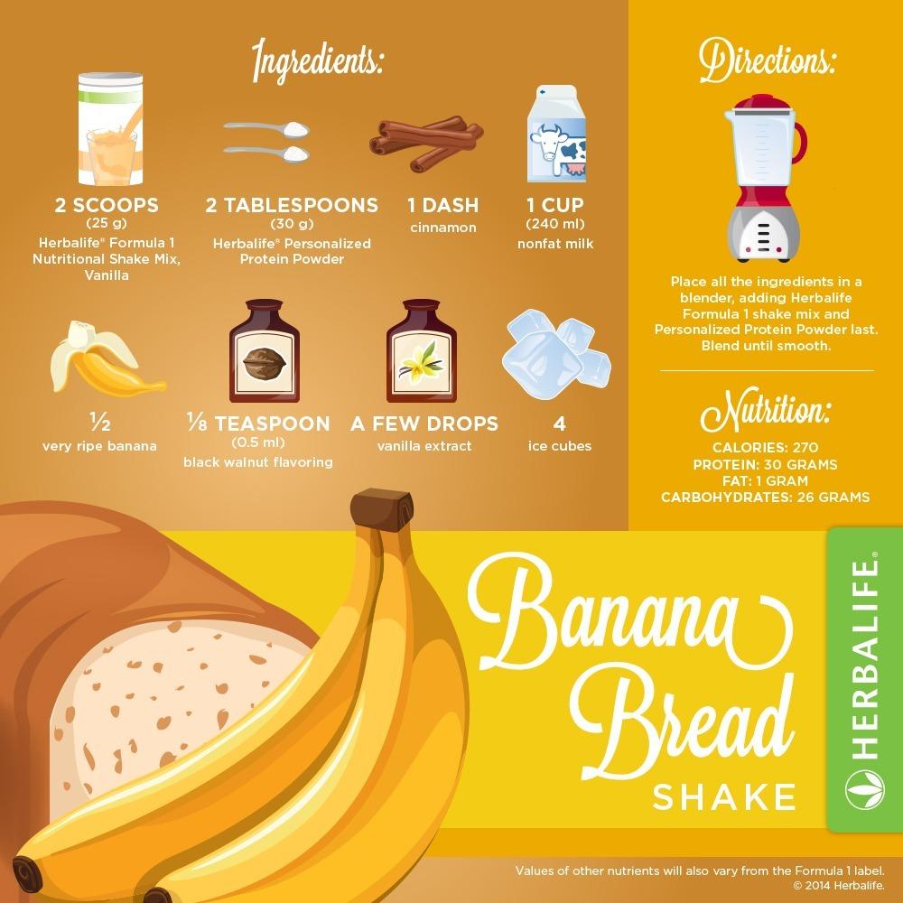 Recette Shake Formula 1 vanille Herbalife Banane
