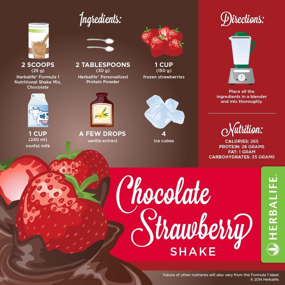Recette Shake Formula 1 Herbalife chocolat et fraises