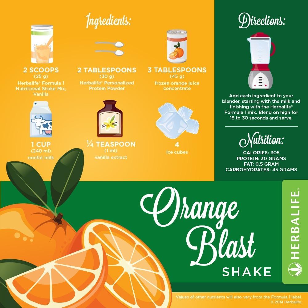 Recette Shake Formula 1 vanille Herbalife Explosion d'Oranges