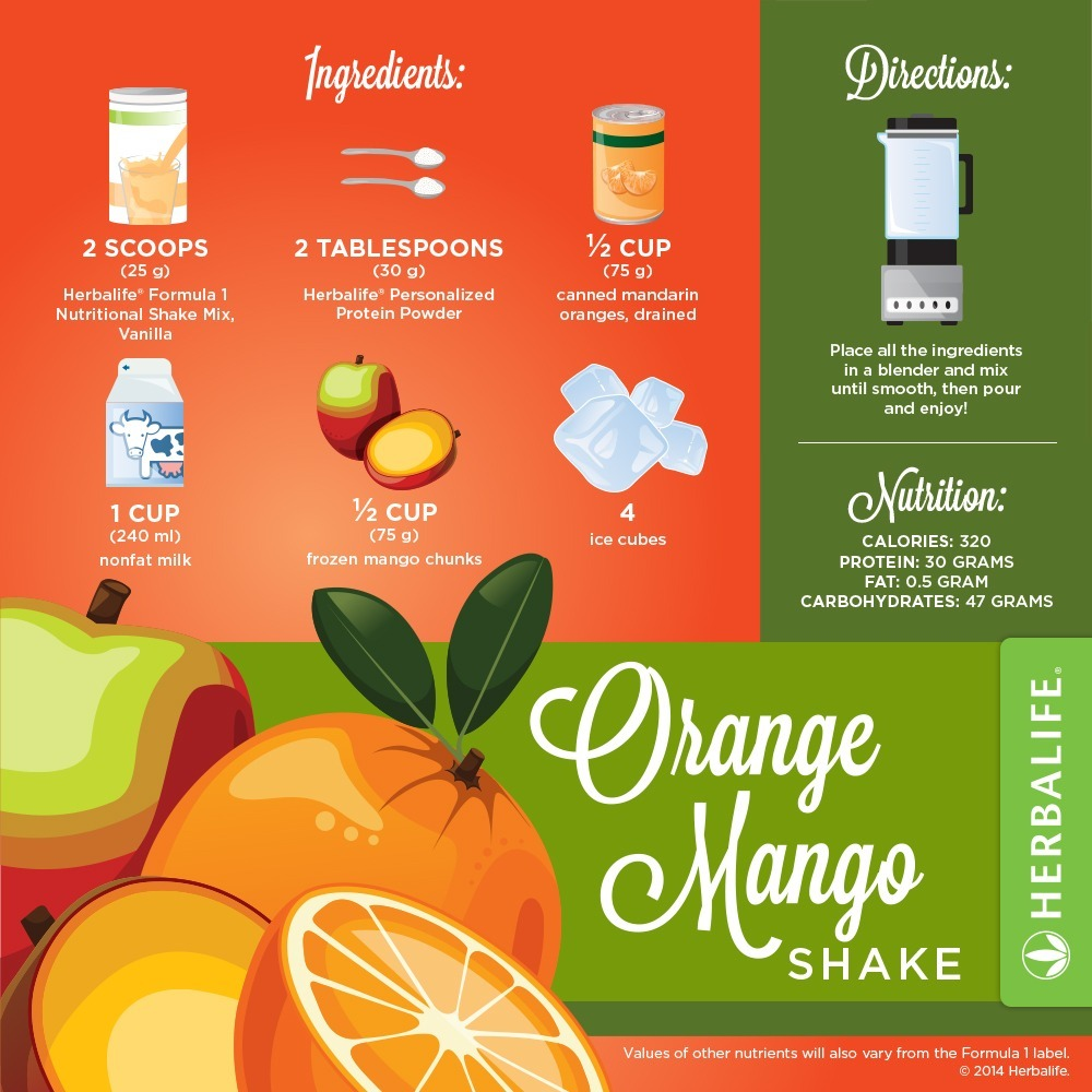 Recette Shake Formula 1 vanille Herbalife Orange & Mangue