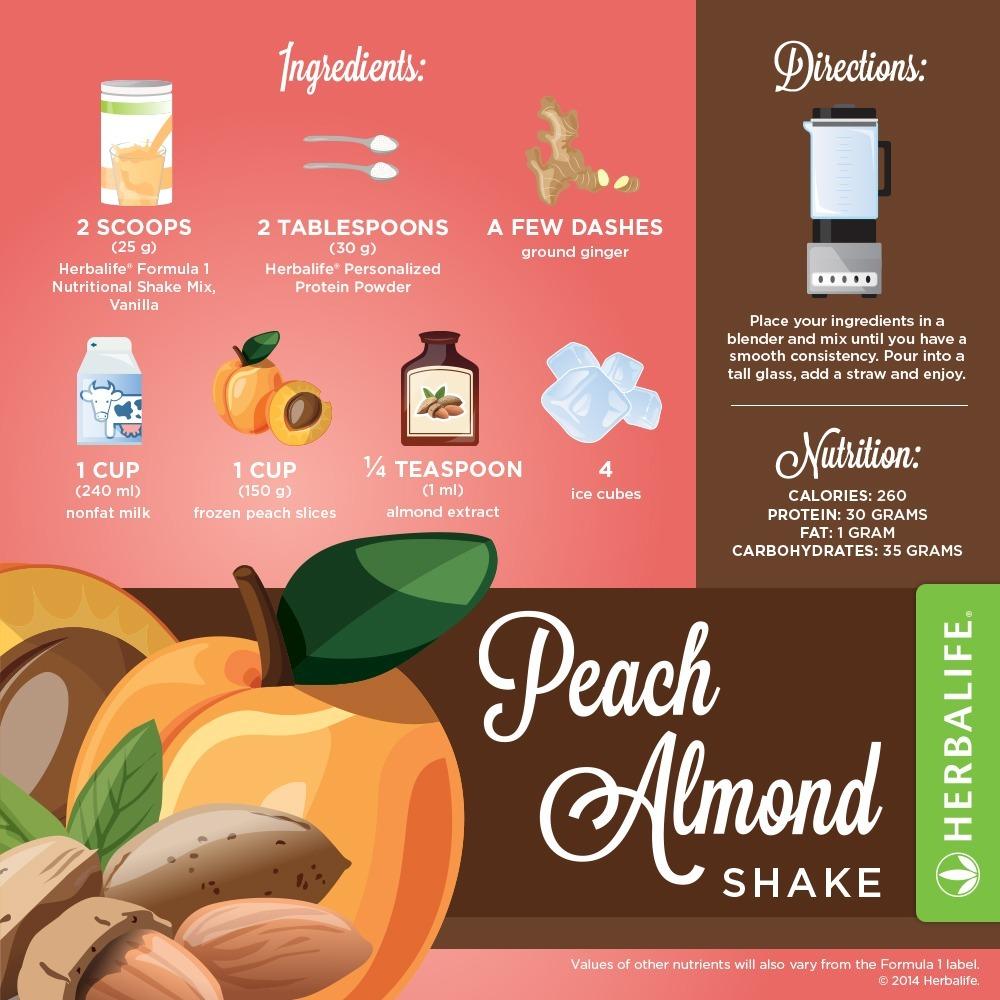 Recette Shake Formula 1 vanille Herbalife Pêche & Amande
