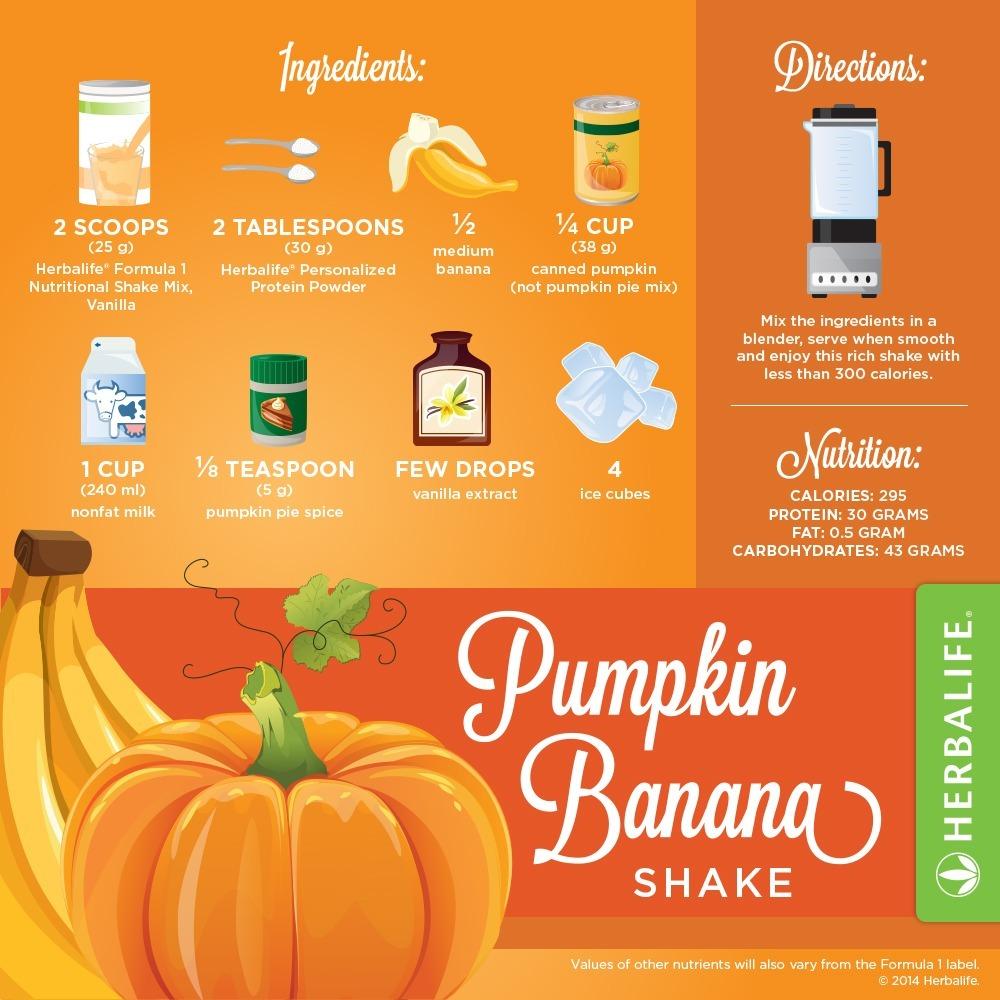 Recette Shake Formula 1 vanille Herbalife Citrouille & Banane